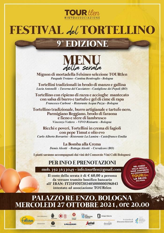 Menu del Festival del Tortellino a Bologna
